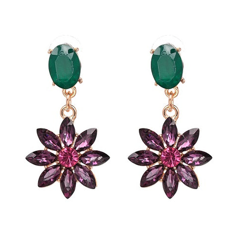 luxury crystal flower drop earrings for women