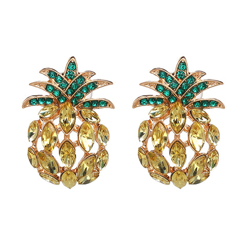 luxury crystal pineapple shape stud earrings for women