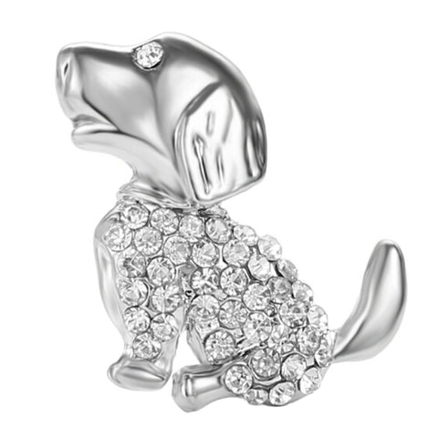 cute crystal rhinestone dog brooch pin for women