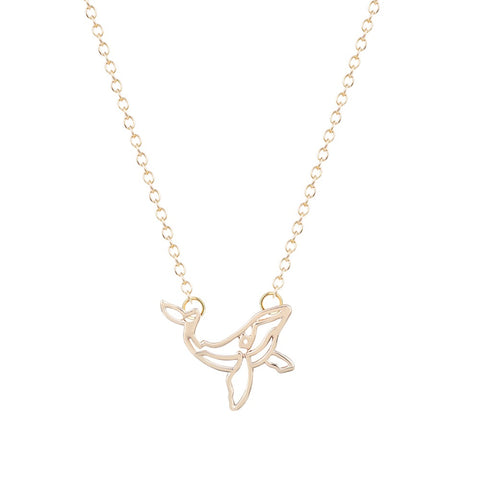 cute small origami whale necklace & pendant for women