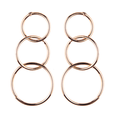 trendy three rounds long drop dangle earrings for women