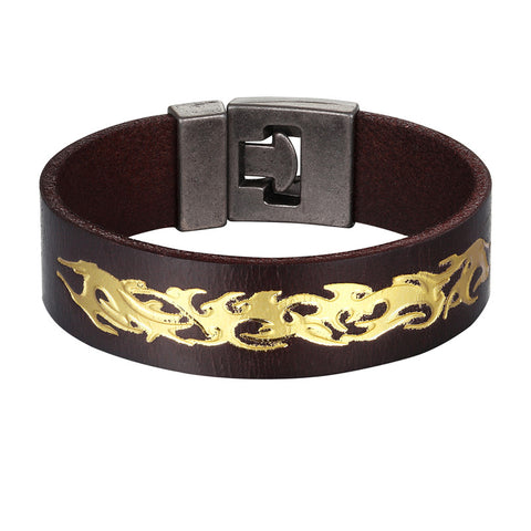 punk style wide cuff leather gold color pattern bracelet