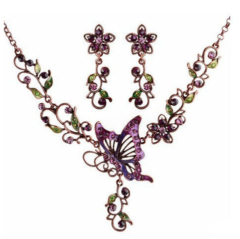 romantic hollow crystal butterfly statement jewelry set for women