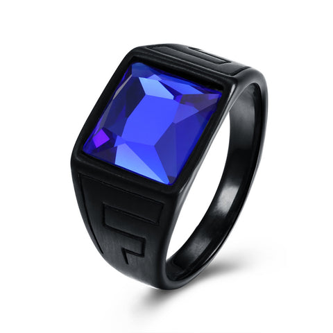 cool black plated stainless steel blue glass ring for men