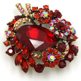vintage style red crystal rhinestone brooch pin for women