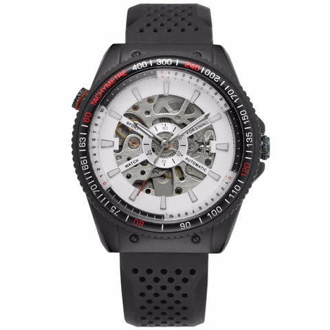 automatic mechanical skeleton silicone band watch for men