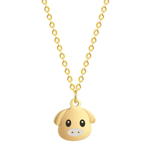 cute little pig stainless steel necklace & pendant for women