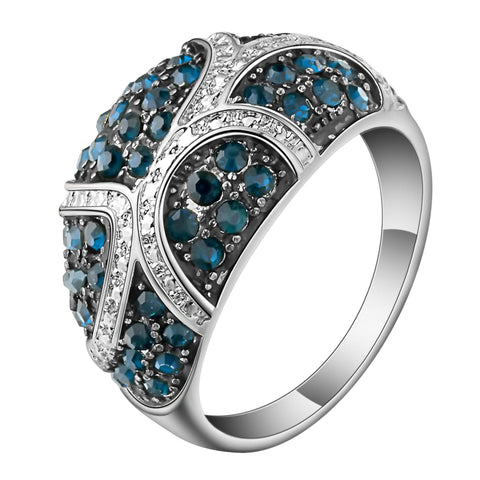 vintage style big silver color & blue crystal rhinestone ring for women