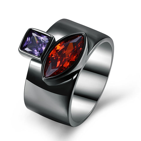 cool black gun plated square with leaf crystal ring