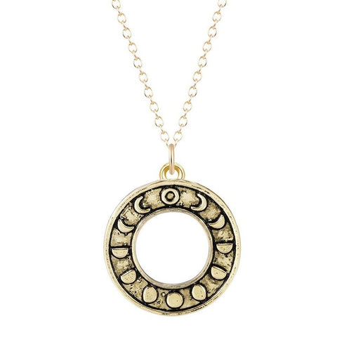 phases of the moon circle pendant long chain necklace