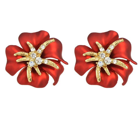 romantic flower shape with rhinestone stud earrings for women