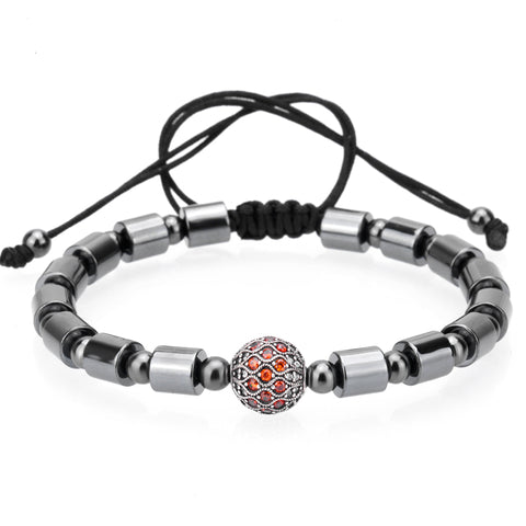 hematite ball inlaid zircon titanium steel beads bangle bracelet