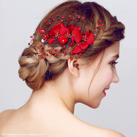 romantic red crystal & fabric flower design hair clip for women
