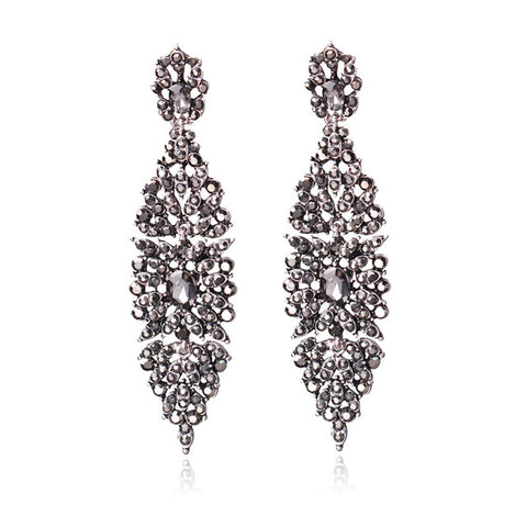 luxury cz rainstone crystal drop earrings for women