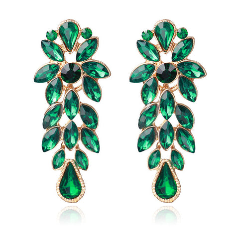 luxury flower shape crystal dangle drop earrings for women