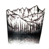 cool doted mountains & forest pattern temporary tattoo sticker