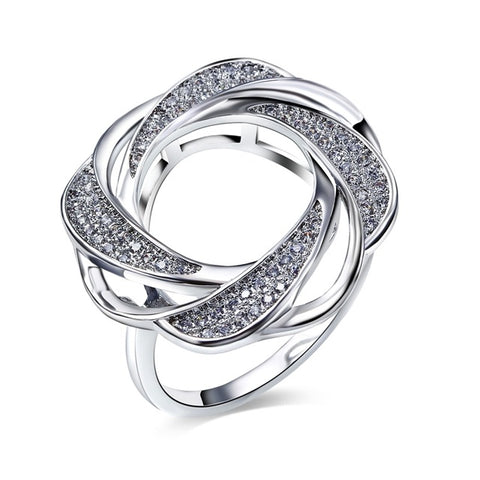 elegant cz crystal paved rhodium color hollow flower ring for women