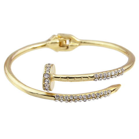 punk style bangle with rhinestone bracelet for women