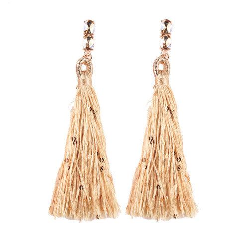 long fringed tassel dangle drop earrings for women