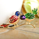cute colorful two birds on branch brooch pin for women