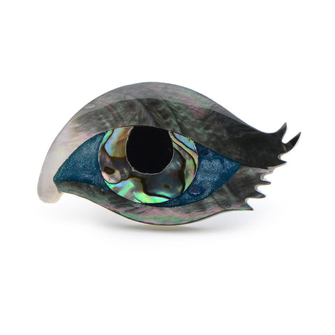 colorful natural shell eye shaped brooch pin for women