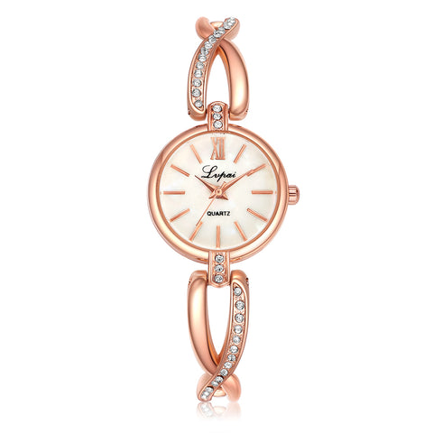 luxury stainless steel & crystal strap quartz wrist watch for women