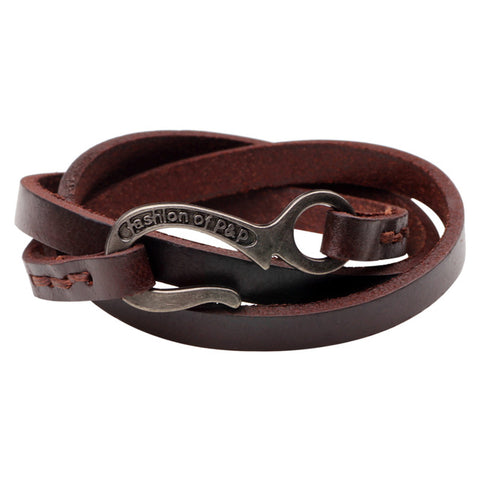 cool multilayer leather with hook bracelet for men