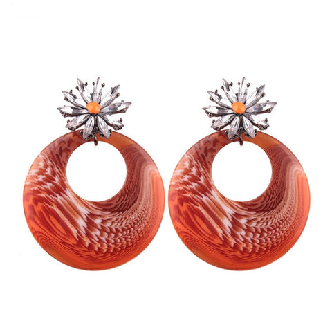 trendy round shaped resin drop earrings for women
