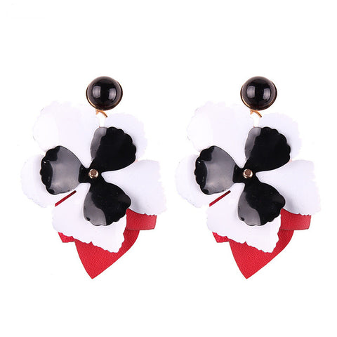 romantic big flower shaped drop earrings for women