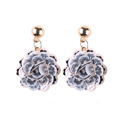 romantic colorful flower shape dangle earrings for women