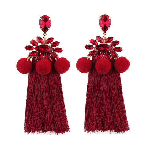trendy fur balls fringed tassel statement earrings for women