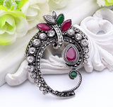vintage resin & rhinestone silver color brooch pin for women