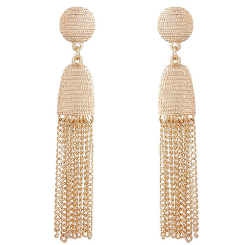 elegant golden metal chain tassel earrings for women