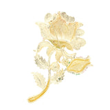 romantic rhinestone crystal big rose flower brooch pin for woman