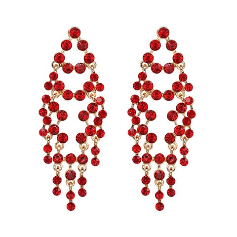 luxury style crystal tassel long drop earrings for women