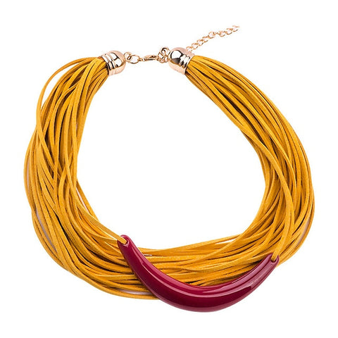 trendy multi layer wrap ribbon statement necklace for women