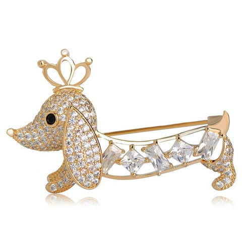 trendy pave cz crystal dog with crown brooch pin for women