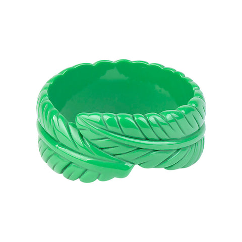 trendy resin carved leaf bangle bracelet for women