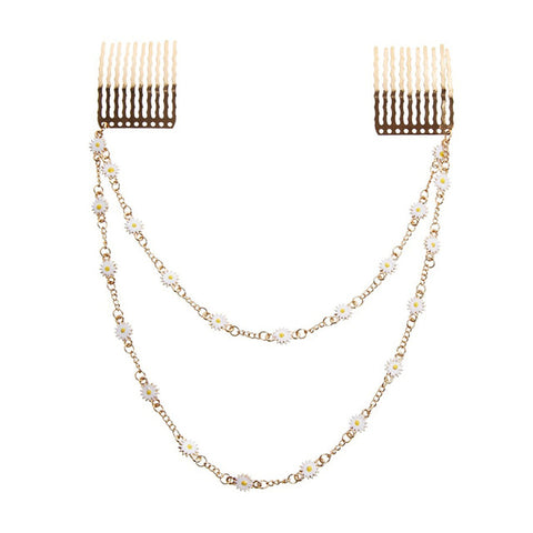 trendy double chain enamel flower hair comb for women