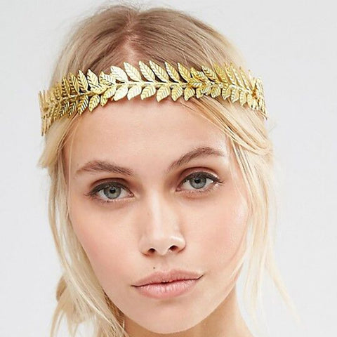 trendy gold color leaf shape hair band for women