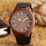 trendy bamboo wood genuine leather strap wrist watch for men