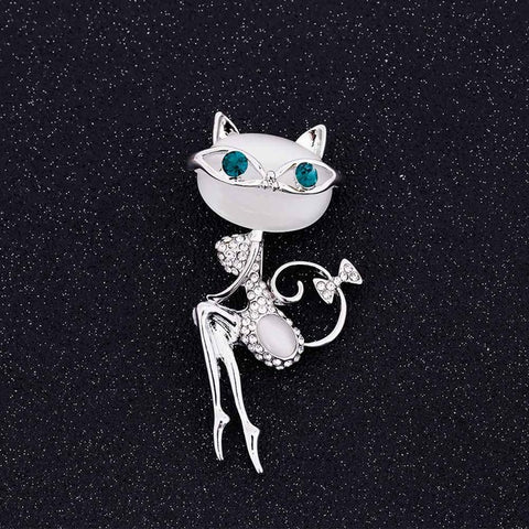cute crystal cat with sunglasses brooch pin for women