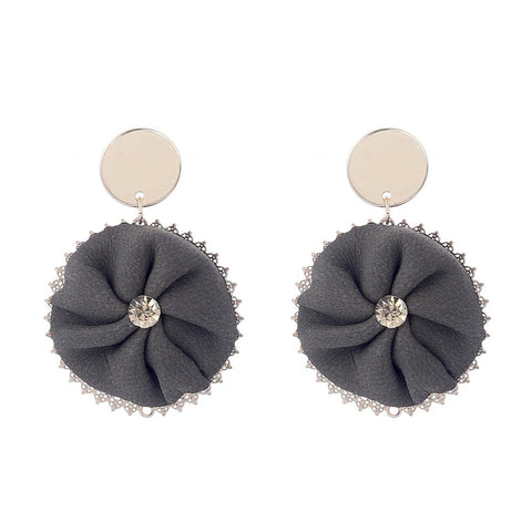 vintage velvet round circle with crystal drop earrings for women