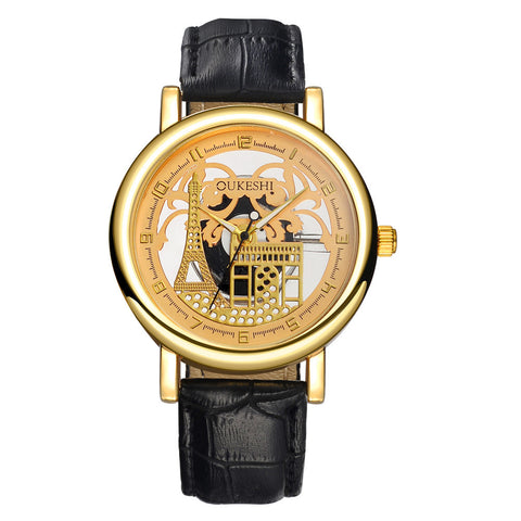 trendy hollow eiffel tower pattern leather band watch