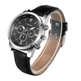 sport stainless steel chronograph dial leather band watch for men