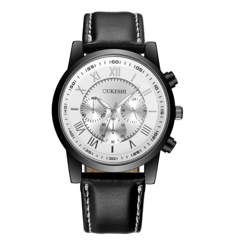 elegant chronograph dial leather band quartz watch for men