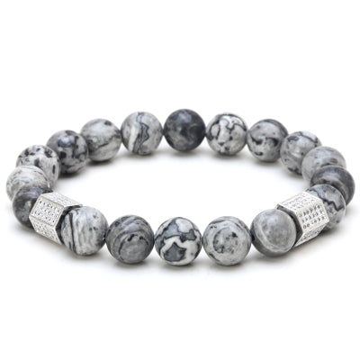 trendy natural stone gray beads & crystal bracelet for men