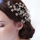 romantic small crystal rhinestone flower hair comb for women