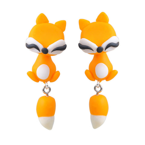 cute fox with tail polymer stud earrings for women