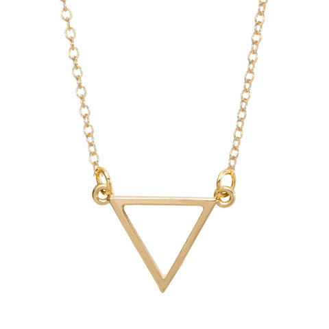 simple triangle shape pendant necklace for women
